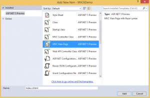 Creating Your First ASP.NET MVC 6 Application Using c# FromScratch.