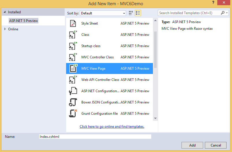 Creating Your First ASP NET MVC 6 Application Using c# From Scratch