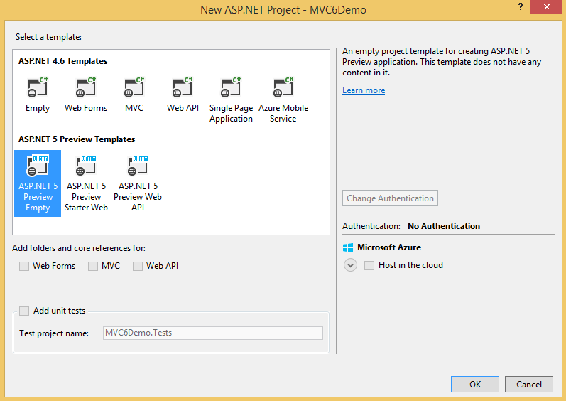 Creating Your First ASP NET MVC 6 Application Using c# From